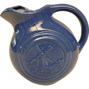 Vintage Stoneware Blue Disk Pitcher with Windmill Design