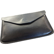 Vintage Michael Green Black Envelope Clutch Leather