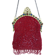 Antique Victorian Beaded Purse w Ornate Jeweled Frame