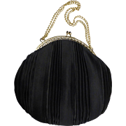 Vintage Pleated Black Satin Evening Bag Filigree Frame