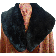 Vintage 1960s Black Genuine Sheared Beaver Fur Stole Collar