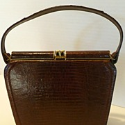 1950's-60's Dark Chocolate Lizard Skin Kelly Style Handbag Purse