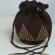 Vintage Chocolate Brown Crocheted Beaded Purse with Lucite Base