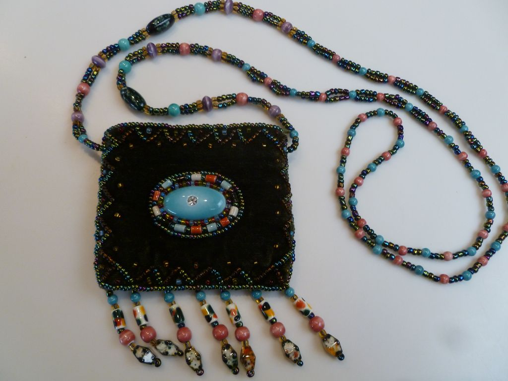 1970's Tiny Beaded Velvet Bag