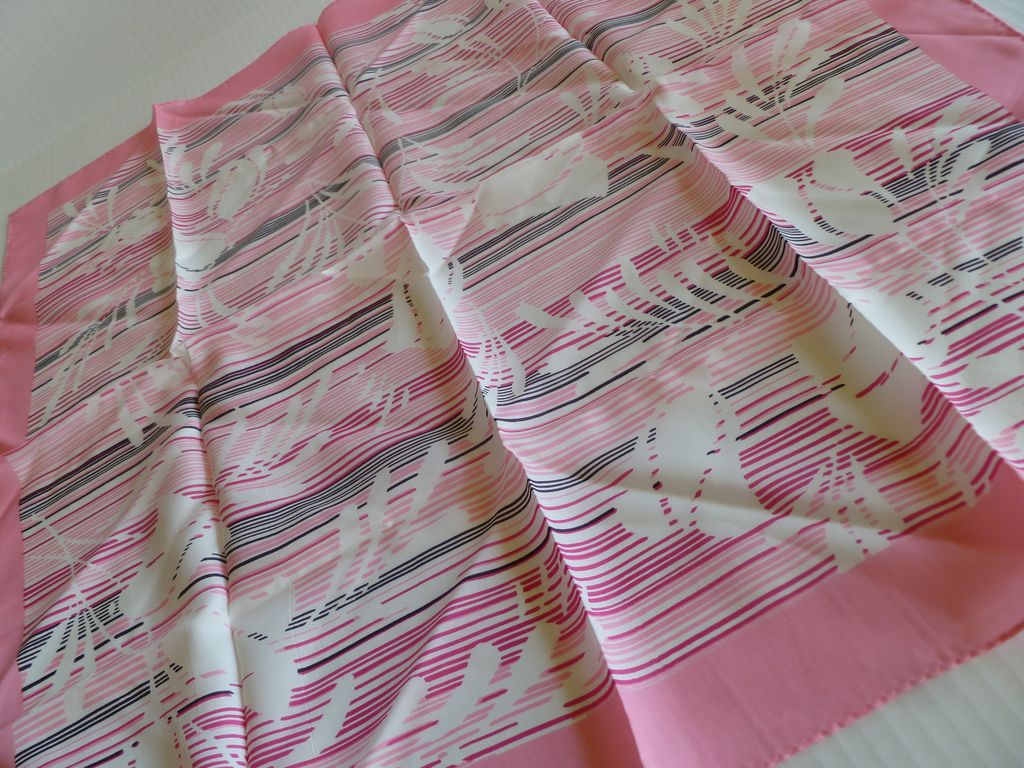 Vintage Pink Scarf – Acetate, Made in Japan MINT