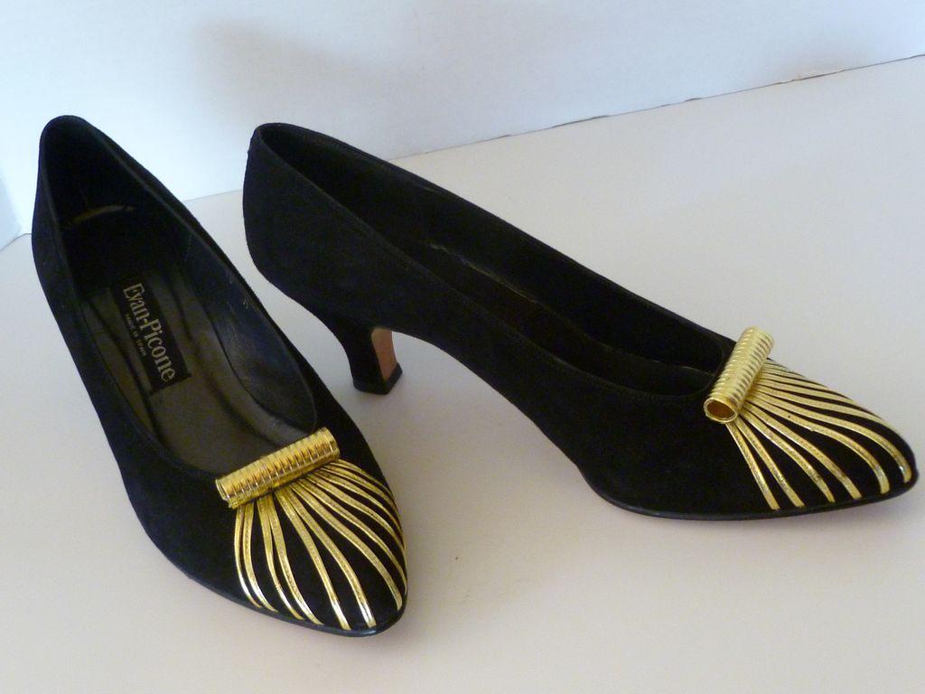 Vintage Couture Evan Picone Black Heels Shoes  Spain 10M