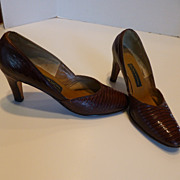 Vintage Lizard Skin Frank Moore Pumps Shoes  -  Size 8B
