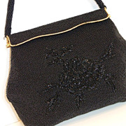 Vintage Black Beaded Evening Bag Purse