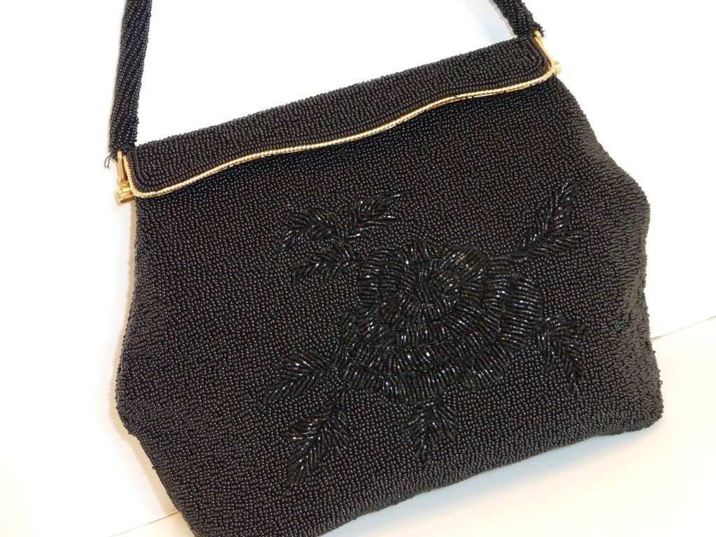 Vintage Black Beaded Evening Bag Purse from historique on Ruby Lane