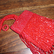 Vintage Red Fringed Beaded Flapper Handbag Purse