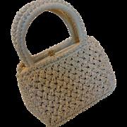Vintage MAGID Italy Cream White Raffia Purse Handbag Italy