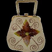 1950's Fabric Handbag with Velvet Leaves, Glitter & Lucite Handle