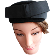 Vintage BelMar Black Pillbox Opera Hat Body Made In Italy