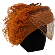 1940s Glenover Henry Pollak New York Fascinator Hat with Plume