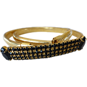 Vintage Gold Tone Stretch Belt with Black Crystal Rhinestones