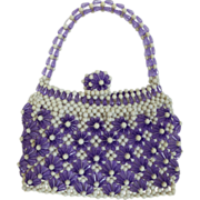 Vintage Purple and White Plastic  Bead Purse