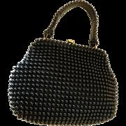 Vintage 1950's Black Plastic Beaded Handbag Purse