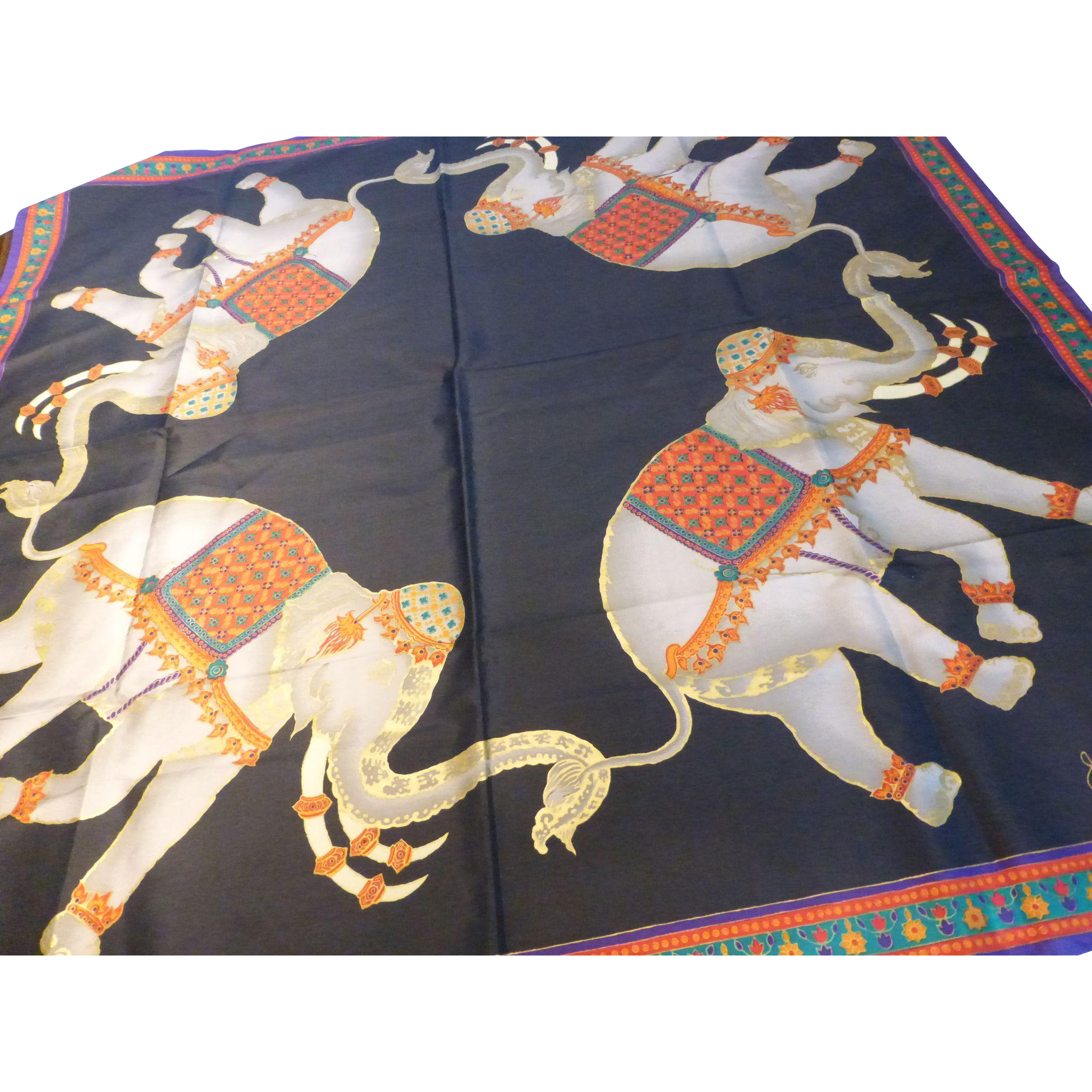 Vintage jim thompson thai silk scarf elephants sold on for Thai silk jim thompson