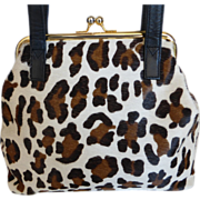 Leopard Print Fur Shoulder Bag Purse by Cee Klein