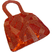 Vintage Jamin Puech Orange Beaded Evening Bag Purse