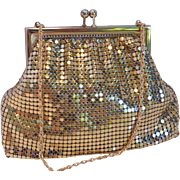 Pristine 1940s Whiting and Davis Gold Mesh Evening Purse w  Rhinestone Clasp