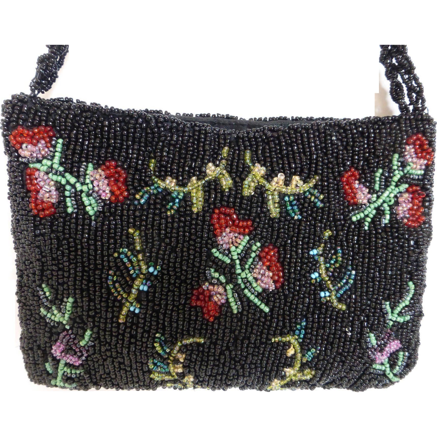 Lovely A Beaded Handbag Purse Multi Colored Historique Ruby Lane