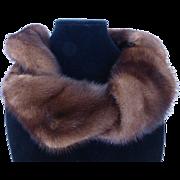 Vintage Sable Brown Genuine Mink Fur Boa Collar Scarf MINT