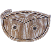 Vintage Faux Pearl & Beaded Small Clutch Purse Evening Bag or Coin Purse