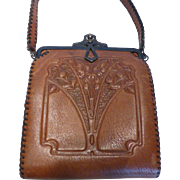 1920's Arts & Crafts Embossed Leather Purse Handbag by Nocona Bags