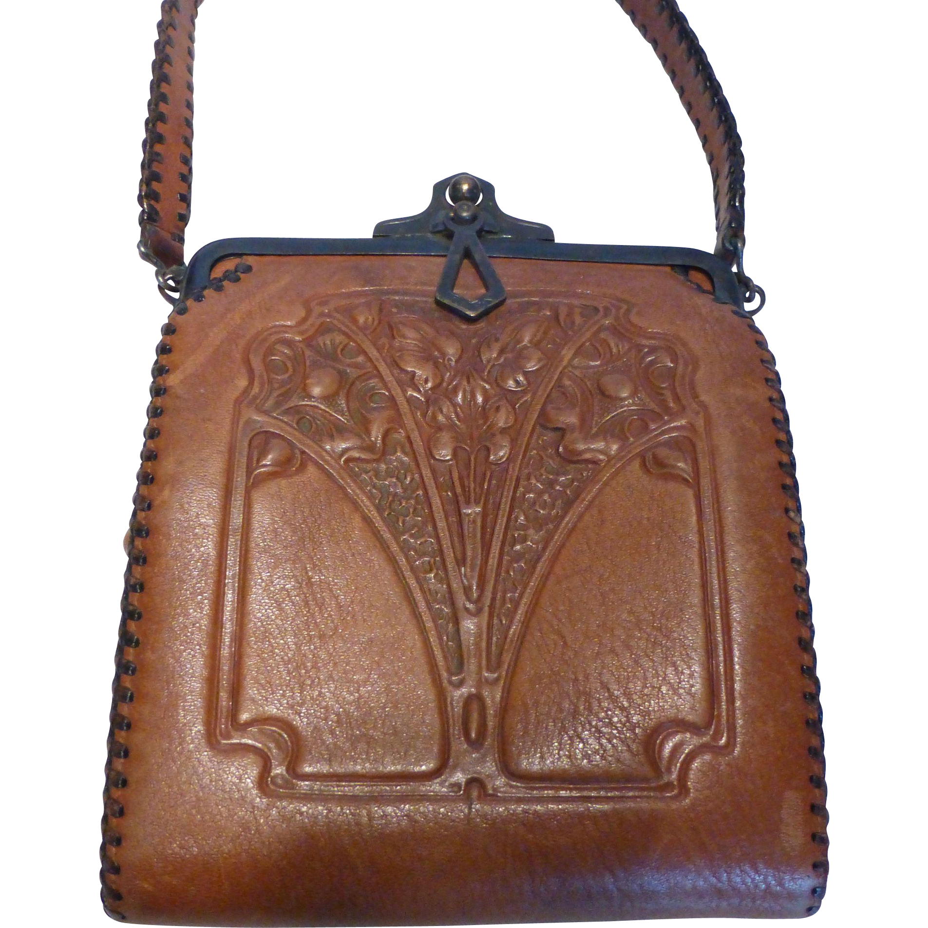 1920 S Arts Amp Crafts Embossed Leather Purse Handbag By