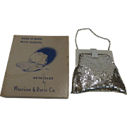 Vintage Whiting & Davis Silver Tone Metal Mesh Purse in Original Box