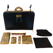 Extraordinary Evans Elegance Black Calf Leather Handbag Purse w/ 7 Matched Accessories