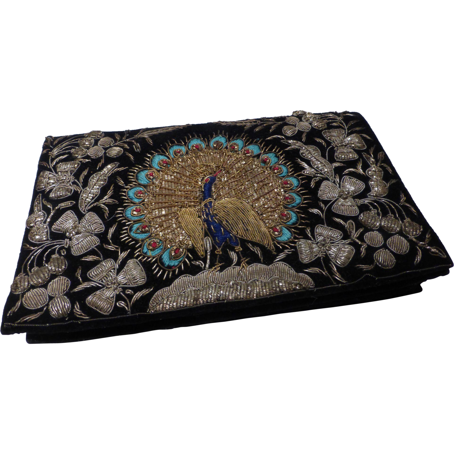 Vintage metal embroidery peacock clutch purse handbag from
