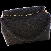 Stunning Vintage Black Beaded Bag Handbag Purse MINT