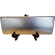 1960's Silver Metallic Leather Clutch Handbag Purse