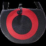 Vintage 1940's Woven Straw Raffia Round Target Pattern Purse Handbag