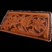 Vintage Tooled Leather Wallet Billfold MINT