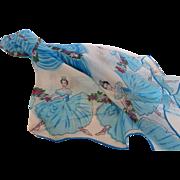 1950's Hand Painted Silk Chiffon Prima Ballerina Scarf Japan