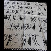 Vintage ECHO Dancers Silk Scarf Black & White