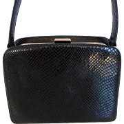 Ann Taylor Black Snake Skin Purse Hand Bag