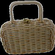 Vintage Gold and Silver Metallic Wicker Box Purse Handbag Made in Hong Kong