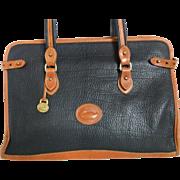 Vintage Dooney & Bourke Large Briefcase Satchel Tote Bag Black & British Tan