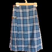 1970's Wool Tartan Kilt Skirt Scotland Heather Blues