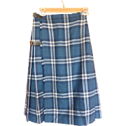 1970's Wool Tartan Kilt Skirt Scotland Heather Blues