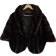 Stunning Vintage 1960 Black Pearl Ranch Mink Fur Stole Cape