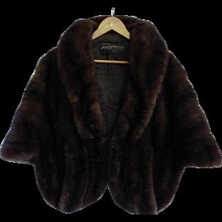 Stunning Vintage 1960 Black Pearl Ranch Mink Fur Stole Cape