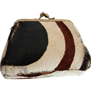 Vintage Cowhide Leather Fur Coin Change Purse