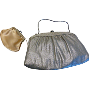 Vintage Silver Lame Clutch Evening Bag with Rhinestone Clasp & Coin Purse