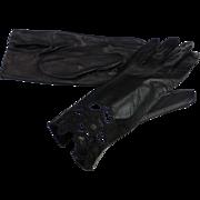 Vintage Black Kidskin Leather Gloves Cutwork Size 7 MINT
