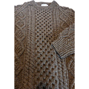 Genuine Aran Islands An Púcán Hand Knit Wool Sweater Ireland Men's L MINT